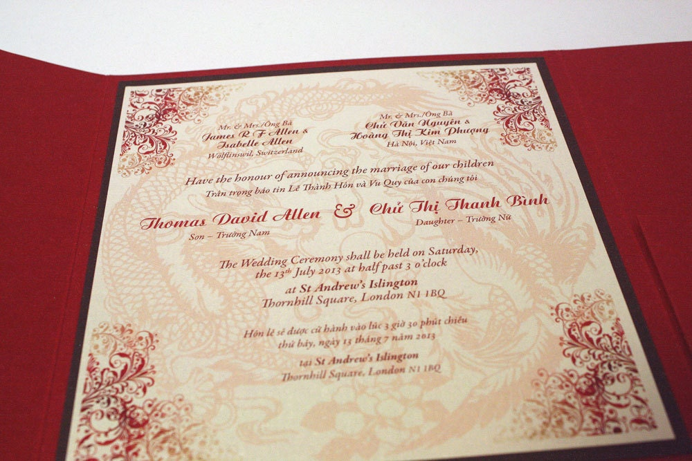 Bilingual English and Vietnamese Oriental Chinese Dragon – Chinese English Wedding Invitations