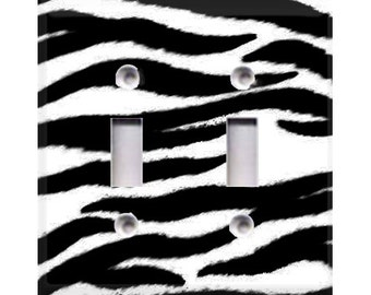 Zebra Print Double Light Switch Cover