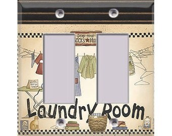 Laundry Room Style 1 Double Rocker/GFI Cover