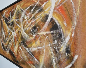 Modern Encaustic Painting by Y Sajima - Harvest Gold Colors