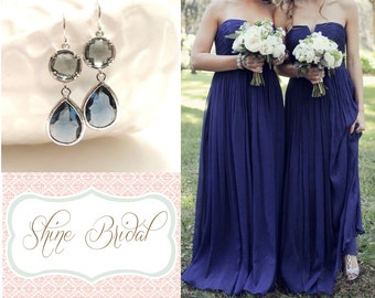 Navy Blue Bridesmaid Earrings Blue and Grey Earrings Silver Earrings Navy Blue Wedding Gray Grey Wedding Jewelry Sapphire Blue Crystal