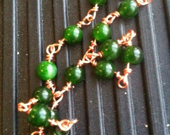 Green Quartz & Copper Wire-Wrapped Bracelet