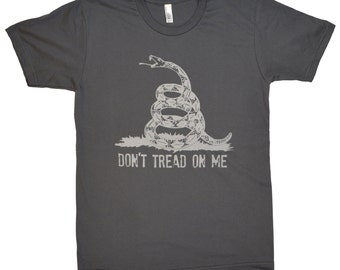 Don't Tread on Me Asphalt Grey American Apparel T Shirt All Sizes XS-3X