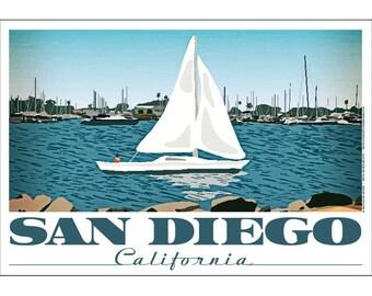 San Diego, California Spanish Landing Poster