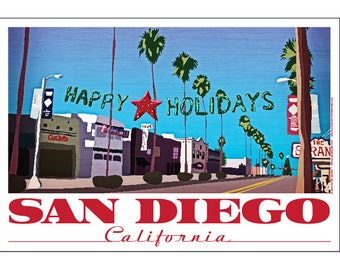 San Diego, California Happy Holidays Poster