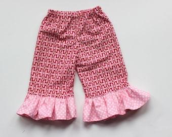 Ruffle pants Girls pink polka dot ruffle pants Michael Miller Toddler ruffle pants ruffle pants birthday outfit birthday ruffle pants