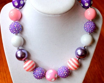 girl chunky bead bubblegum necklace pink purple girl necklace chunky bead necklace bubblegum bead necklace birthday necklace