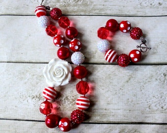 christmas chunky necklace and bracelet set red and white candy cane bubblegum bead necklace matching bracelet set red nd white peppermint