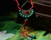 Tribal Adornment-Extra Long Handmade Traditional Tibetan Necklace/Lariat-Nepali,Yoga Colorful Jewelry,Ethnic,Himalayan,Buddhist Necklace M24