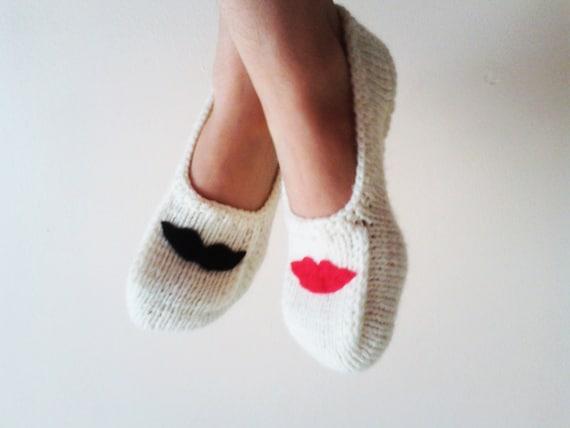 Handmade Slippers /Felt Lip and Felt Mustache Appliques / Cream Slippers / Gift for Lover