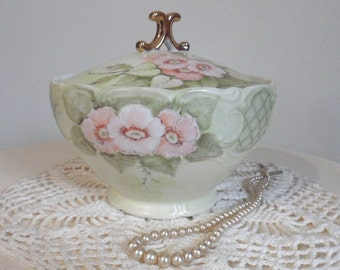 Vintage Hand Painted Porcelain Covered Dish with Roses