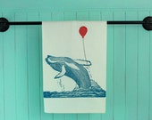 Block Printed Hump Back Whale With Balloon Tea Towel