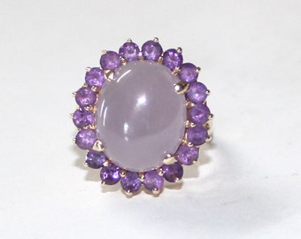 Lavender Jade & Amythest Ring 14k yellow gold - 7.75 ring size - sku 27122