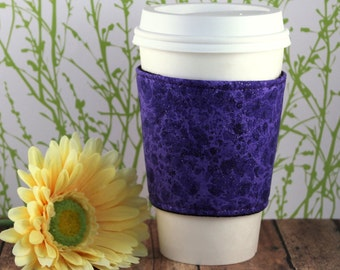 Purple Sparkle Coffee Cozy - Purple Coffee Cozy - Coffee Cozy - Fabric Coffee Cozy - Tea Cozy