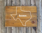 TEXAS STATE SIGN - Stained Reclaimed Pine
