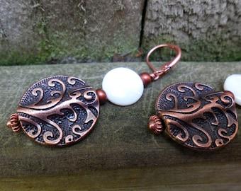 Copper Filigree and Mother of Pearl Earrings Pearly Shells Sea Mermaid Ocean Vacation Resort Coins Pirate Treasure Full Moon Tide Lunar Love