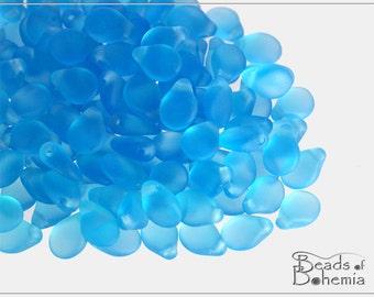 60 pcs Transparent Matte Aquamarine Czech Preciosa PIP Beads 5x7 mm (8849)