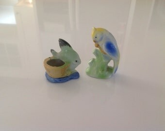 Occupied Japan Fish & Parrot Figurines