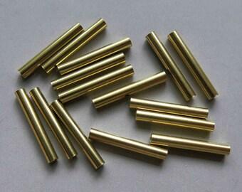 200pcs Cut Raw Brass Tube Cylinder Shape Beads20mm x 3mm - F143