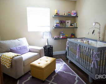 Baby Bedding Crib Set -Featured in Project Nursery! Bumpers/sheet/adjustable skirt-Purple, Gray Yellow and Lavender