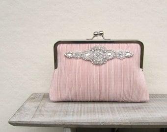Blush clutch, rhinestone clutch, great gatsby clutch, blush bridal clutch, pearl purse, blush bridesmaid clutch, dusky pink clutch purse