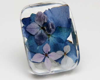 Real Flower Resin Ring, Statement Ring, Hydrangea Jewelry, Big Ring, Hydrangea Wedding, Pressed Flower Ring ,Blue Ring, Retro Ring