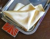 Soft Yellow Silk Pocket Square Handrolled Edges