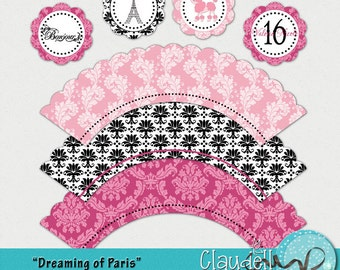 Dreaming of Paris Printable Cupcake Wrapper and Topper - 300 DPI