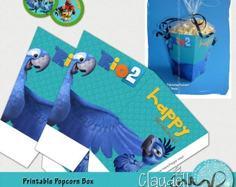 Rio 2 Blu Inspired Printable Popcorn / Favor Box 300 DPI