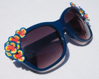 Blue Framed Floral Sunglasses