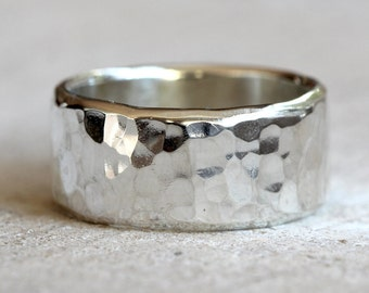 Hammered band men's wide band hammered ring in sterling silver