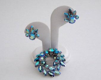 Sherman Blue Demi Parure - AB Rhinestone Wreath Brooch and Earrings - Vintage 1950s Sherman Jewelry
