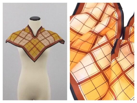 Vera Neumann Silk Blend Scarf - Mid Century Caramel and Rust Plaid - Vintage 1960s Square Wingtip Vera Scarf