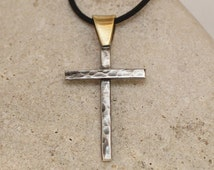 Sterling silver Cross Necklace with black cord.. Hammered Handmade Cross.. Men's / Women's Cross pendant .