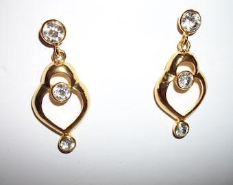 Vintage Gold-tone Rhinestone Drop Post Earrings