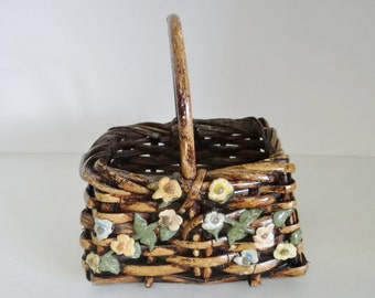 Vintage Willow Basket Woven With Metal Enamelled Flowers And Bent Wood Handle Circa 1940 -50's