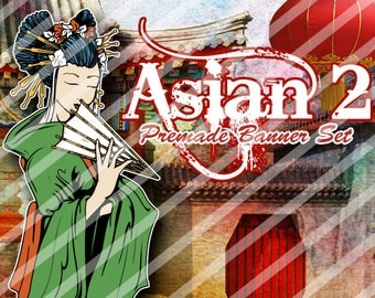 "Banner Set - Shop banner set - Premade Banner Set - Graphic Banners - Facebook Cover - Avatars - Bisiness Card - ""Asian 2"""
