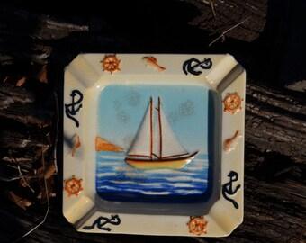 SALE - Vintage Ceramic Sailor Ashtray