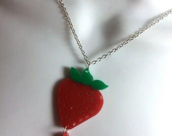 fabulous laser cut acrylic juicy strawberry Summer statement necklace
