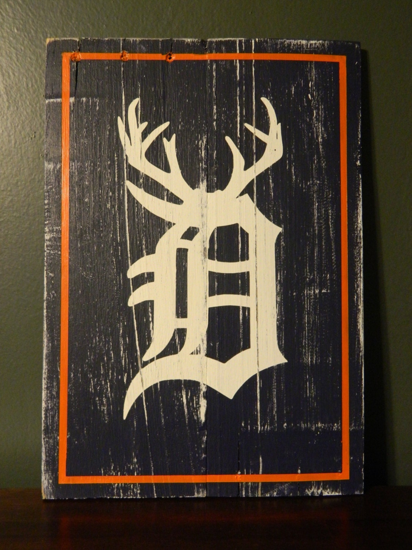 detroit tigers wall art hanging michigan hunter gift