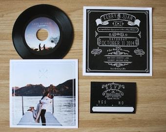 Chalkboard custom 7quot vinyl record label wedding invitation for Etsy vinyl wedding invitations