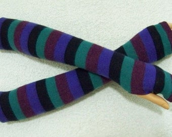 SALE Multicolored Stripes, Long Arm Warmers, Very Soft Fingerless Gloves, Hippie, Boho with Thumb Hole. IDEAL for HER