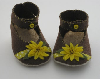 Brown/Sunflower Ankle Strap Mary Jane