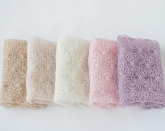 Newborn wrap 31 color  / baby wrap / newborn photo prop wrap / photography newborn wraps / knit silk mohair wrap headband set / wrap set