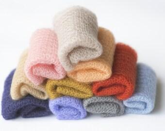 Stretch newborn wrap / baby wrap / newborn photo prop wrap / photography newborn wraps / knit silk mohair wrap headband set / wrap set