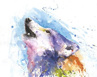 WOLF ART PRINT - watercolor wolf painting, wildlife painting, wolf decor, howling wolf print, abstract wolf, wolf portrait, wolf wall art