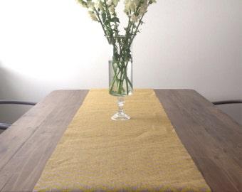 Yellow Chevron Burlap Table Runner