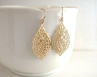 Gold Filigree Leaf Earrings, Detailed Leaf Earrings, Gold Teardrop Earrings, Gold Cutout Earrings - 14k Gold Filled Ear Wires