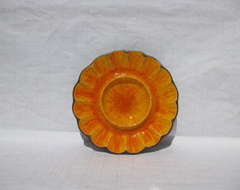 Vintage Fireburst Orange Treasure Craft Dish