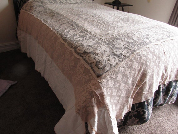bedspreadrepurposed lace tablecloth and crocheted pieces